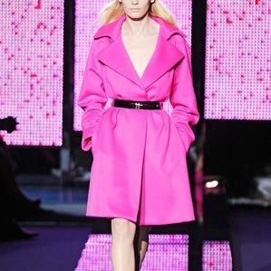 Versace Runway Angora Neon Pink Belted Coat
